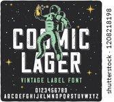vintage label font name cosmic... | Shutterstock .eps vector #1208218198