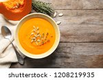 flat lay composition with bowl... | Shutterstock . vector #1208219935