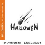 witch broom logo   emblem... | Shutterstock .eps vector #1208225395