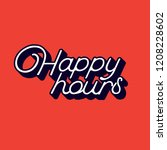 striking happy hour sign with... | Shutterstock .eps vector #1208228602