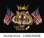 embroidery tiger head  rippled... | Shutterstock .eps vector #1208234608