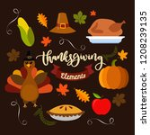 hand drawn doodle thanksgiving... | Shutterstock .eps vector #1208239135
