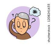 elderly man scratching his head ... | Shutterstock .eps vector #1208241655