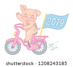 happy pig pig rides a bike and... | Shutterstock .eps vector #1208243185
