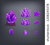 set of cartoon purple gemstones ...