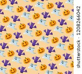 halloween pattern with bats ... | Shutterstock . vector #1208266042
