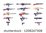 automatic guns. battle game... | Shutterstock .eps vector #1208267308