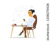a boy sits at a desk and learns.... | Shutterstock .eps vector #1208270428