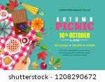 fall picnic horizontal... | Shutterstock .eps vector #1208290672