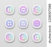 processors app icons set. ui ux ...