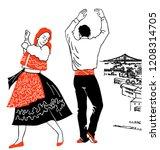 portugal. portuguese folk dance ... | Shutterstock .eps vector #1208314705