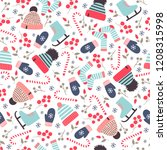 seamless winter pattern with...   Shutterstock .eps vector #1208315998