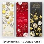 three christmas vertical...   Shutterstock .eps vector #1208317255
