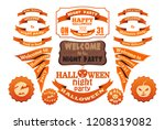set of halloween vector orange... | Shutterstock .eps vector #1208319082