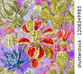 cactus pattern. bright seamless ... | Shutterstock . vector #1208349985