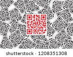 red qr code highlight in black... | Shutterstock . vector #1208351308