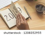 new year 2019 is coming concept.... | Shutterstock . vector #1208352955