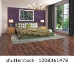 bedroom interior. 3d... | Shutterstock . vector #1208361478
