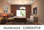 bedroom interior. 3d... | Shutterstock . vector #1208362918