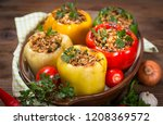 stuffed peppers with meat and... | Shutterstock . vector #1208369572