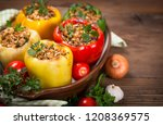stuffed peppers with meat and... | Shutterstock . vector #1208369575