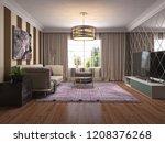 interior of the living room. 3d ... | Shutterstock . vector #1208376268