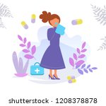 runny nose  cold  sneezing... | Shutterstock .eps vector #1208378878