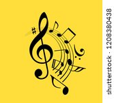music notes swirl vector icon... | Shutterstock .eps vector #1208380438
