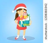 little kid girl holding gift... | Shutterstock .eps vector #1208383342