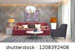 interior of the living room. 3d ... | Shutterstock . vector #1208392408