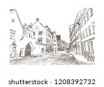 sketch of the old architecture... | Shutterstock .eps vector #1208392732