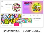 pop art colorful websites set... | Shutterstock .eps vector #1208406562