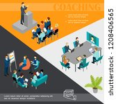 isometric business coaching... | Shutterstock .eps vector #1208406565