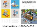 isometric robotic assistants... | Shutterstock .eps vector #1208406598