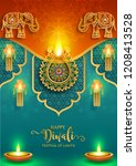 happy diwali festival card with ...   Shutterstock .eps vector #1208413528