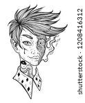 burning guy. vector isolated... | Shutterstock .eps vector #1208416312