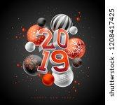 2019 happy new year... | Shutterstock .eps vector #1208417425
