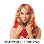 Blonde Woman In Red Hood....