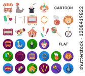 circus and attributes cartoon... | Shutterstock .eps vector #1208419822