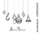 artistic christmas decorations... | Shutterstock .eps vector #1208420605