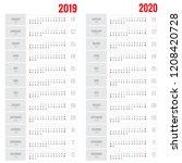 template calendar 2019. week... | Shutterstock .eps vector #1208420728