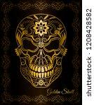 patterned golden skull in black ... | Shutterstock .eps vector #1208428582