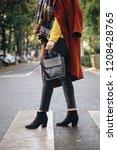 street style  attractive woman... | Shutterstock . vector #1208428765