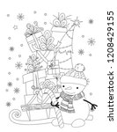 christmas coloring page for... | Shutterstock .eps vector #1208429155