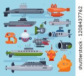 submarine vector sea pigboat or ... | Shutterstock .eps vector #1208437762