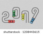 2019 race car happy new year | Shutterstock .eps vector #1208443615