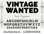 vintage font typeface vector... | Shutterstock .eps vector #1208444848