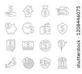 simple set of money related... | Shutterstock .eps vector #1208446075