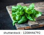 organic   basil closeup on... | Shutterstock . vector #1208446792