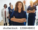 young female doctor smiling... | Shutterstock . vector #1208448832